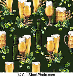 Watercolor beer pattern - Watercolor glasses of beer, green...