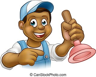 Black Plumber Handyman With Punger Cartoon Man