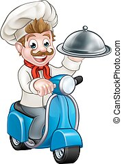 Cartoon Chef on Moped Scooter