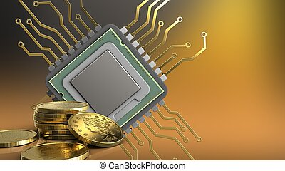 3d of cpu - 3d illustration of cpu over yellow background...