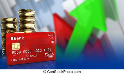3d bank card - 3d illustration of coins over arrows graph...