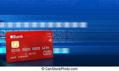 3d bank card - 3d illustration of bank card over digital...