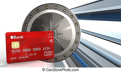 3d bank card - 3d illustration of valut door over abstract...
