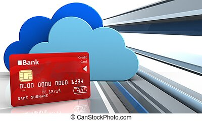 3d bank card - 3d illustration of clouds over abstract lines...