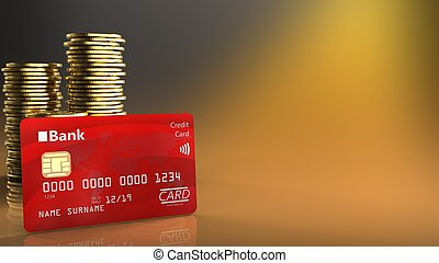 3d bank card - 3d illustration of coins over yellow...