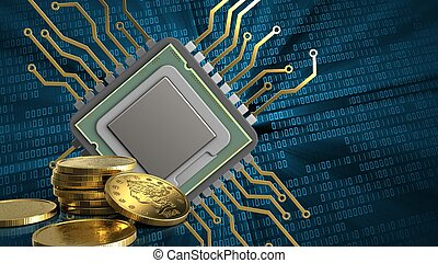 3d of cpu - 3d illustration of cpu over binary background...