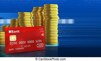 3d bank card - 3d illustration of coins stack over digital...