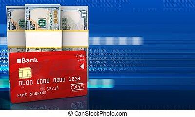 3d bank card - 3d illustration of dollar over digital...