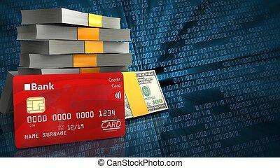 3d bank card - 3d illustration of money stack over binary...