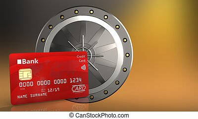 3d bank card - 3d illustration of valut door over yellow...