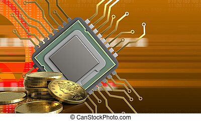 3d of cpu - 3d illustration of cpu over orange cyber...
