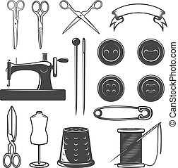 Set of tailor tools and design elements. Design elements for...