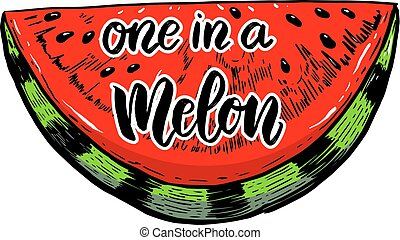 One in a melon. Vector illustration