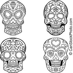 Set of sugar skulls isolated on white background. Day of the...