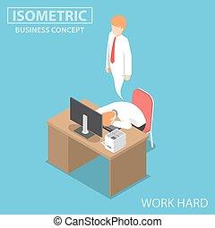 Isometric Businessman Work Hard Until Dead - Flat 3d...