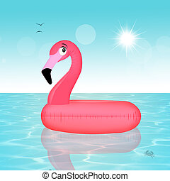 Inflatable pink flamingo - illustration of Inflatable pink...