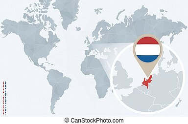 Abstract blue world map with magnified Netherlands.
