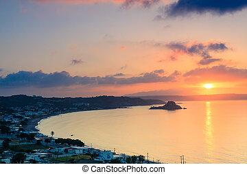 piękny, kefalos, wyspa, zatoka, nad, grecja, Kos, wschód...