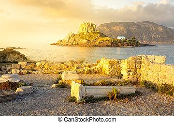 kefalos, kastri, starożytny, wyspa, prawowierny, wyspa,...