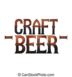 Watercolor craft beer - Craft beer. Watercolor phrase in...