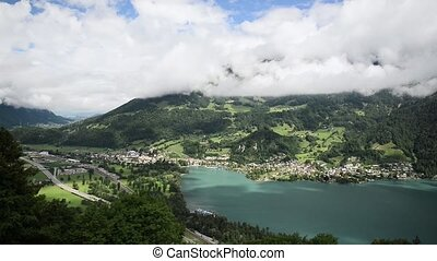 Beautiful panorama of a lake in Switzerland
