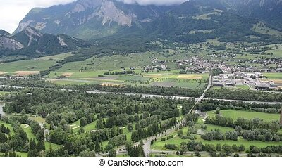 panorama near Bad Ragaz in the Swiss Alps - panorama with...