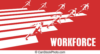 Workforce with Business People Running in a Path