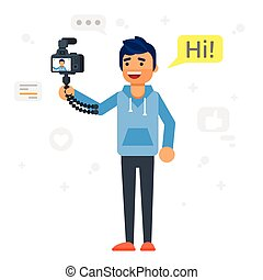 Handsome man records video blog. - Vector flat style...