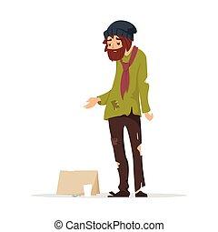poor man in torn clothes begging money. - Vector cartoon...