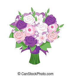 cartoon style illustration of bridal bouquet.