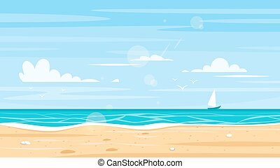 background of sea shore. - Vector cartoon style background...