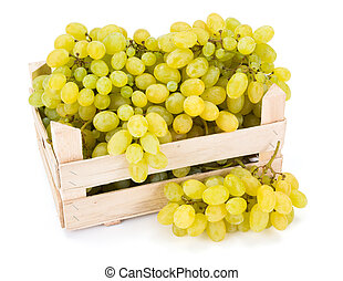White table grapes (Vitis) in wooden crate - White table...