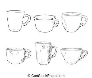 Vector sketch set of cups