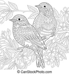 Zentangle stylized sparrow birds - Coloring page of two...