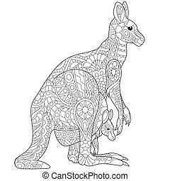 Zentangle stylized kangaroo - Coloring page of australian...