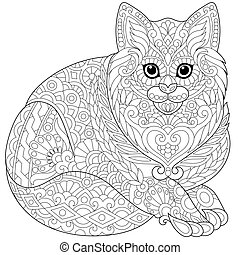 Zentangle stylized cat - Coloring page of cat (young...