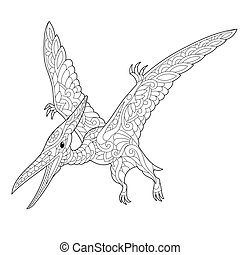Zentangle pterodactyl dinosaur - Coloring page of...