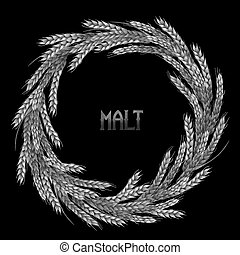 Watercolor malt wreath isolated on black background. Hand...