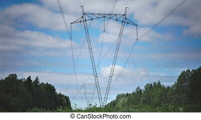 power line support against the background of the sky with white clouds