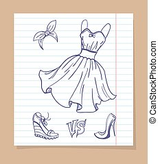 Dress and shoes sketch - Fashion shoes battle. Vector sketch...