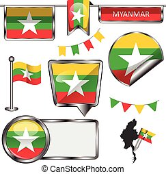 Glossy icons with flag of Myanmar - Vector glossy icons of...