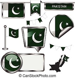 Glossy icons with flag of Pakistan - Vector glossy icons of...