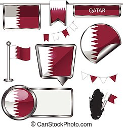 Glossy icons with flag of Qatar - Vector glossy icons of...
