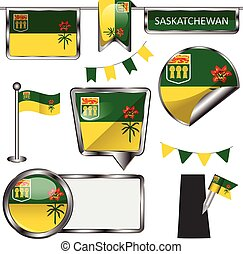 Glossy icons with flag of province Saskatchewan - Vector...