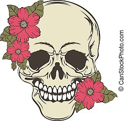 Skull with flowers - Vector of human skull with red flowers...