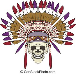 Skull with indian headdress - Vector of human skull with...