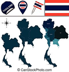 Map of Thailand with Regions - Vector map of Thailand with...
