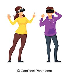 man and woman in virtual reality glasses - Vector cartoon...