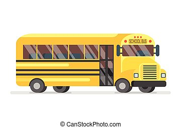 illustration of yellow school bus. - Vector flat style...