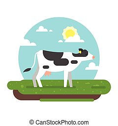 cow graze in a field. - Vector flat style illustration of...